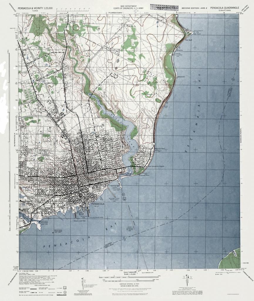 Old Topographical Map - Pensacola Florida 1944 - Printable Map Of Pensacola Florida