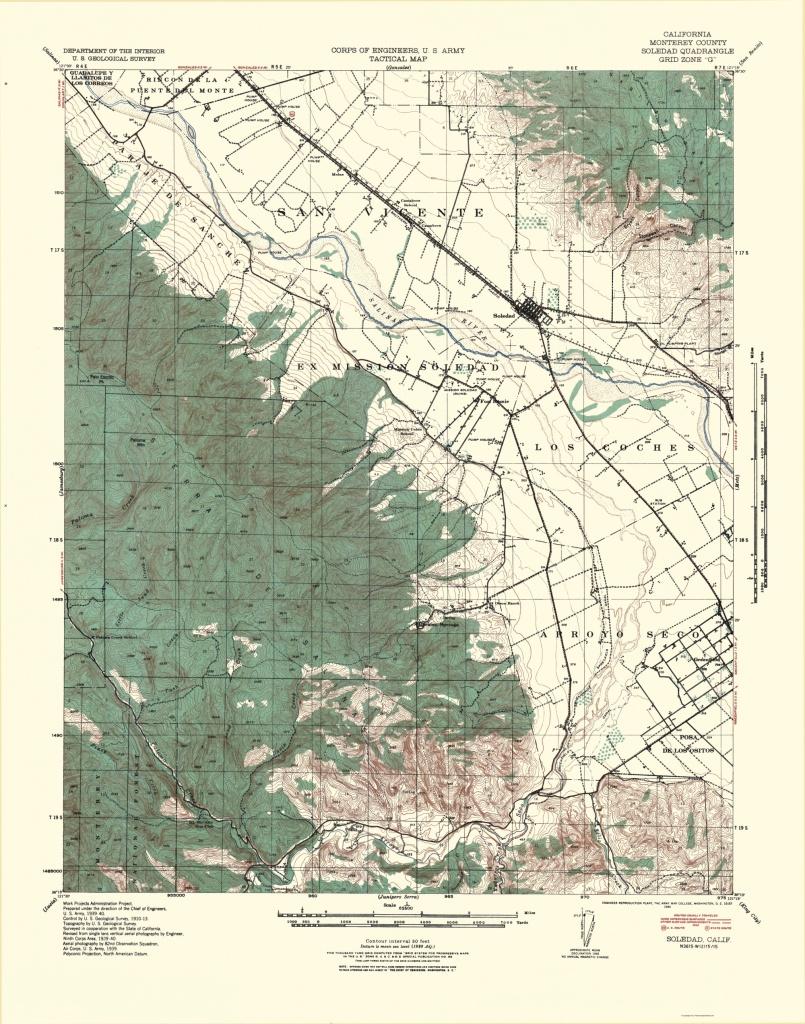 Old Topographical Map - Soledad California 1940 - Soledad California Map