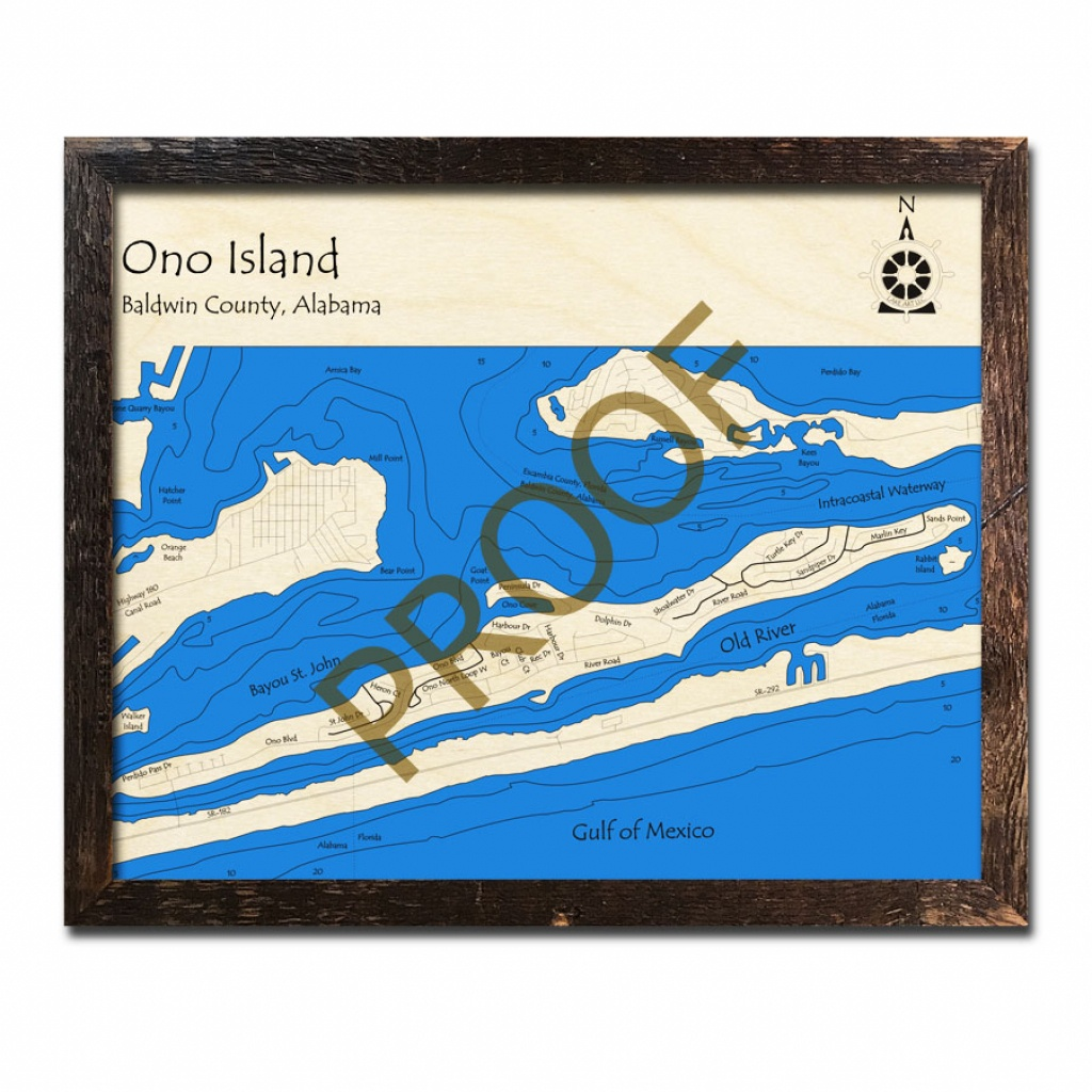 Ono Island - Perdido Bay Wood Map | 3D Nautical Wood Charts - Ono California Map