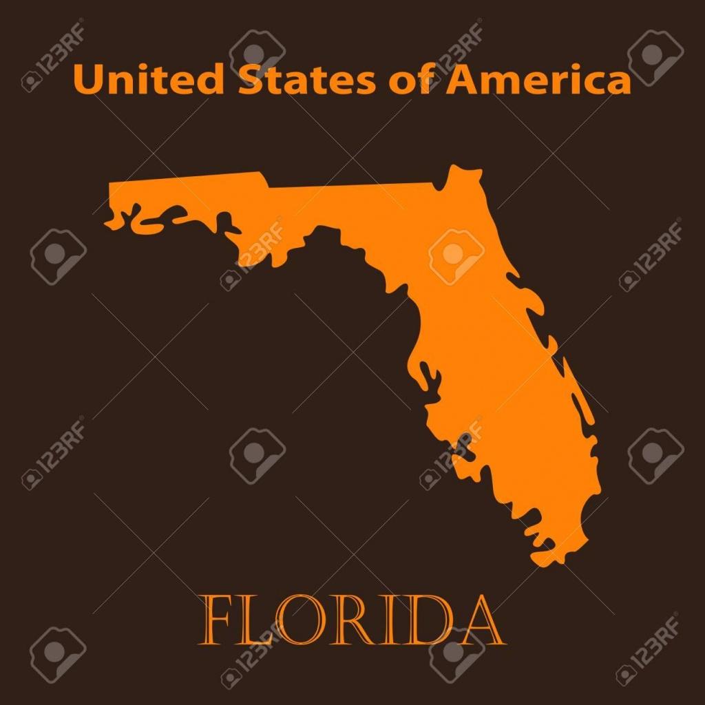 Orange Florida Map - Vector Illustration. Simple Flat Map Of - Orange Florida Map