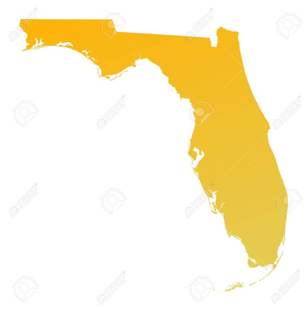 Orange Gradient Florida Map, Usa. Detailed, Mercator Projection - Orange Florida Map