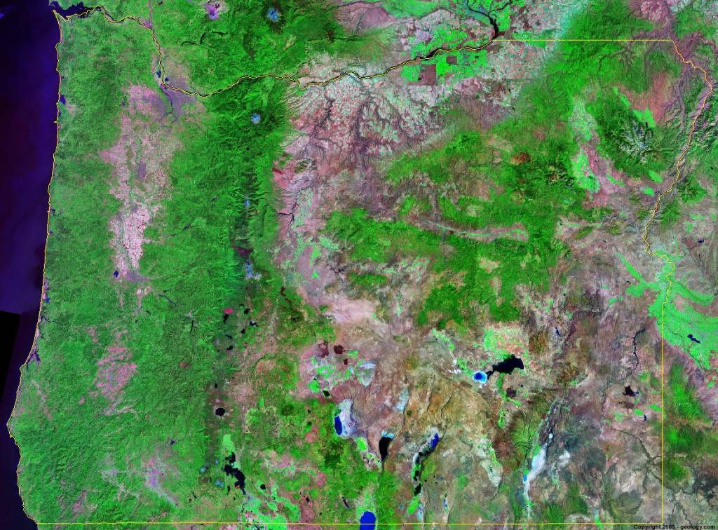 Oregon Satellite Images - Landsat Color Image - Live Satellite Map California