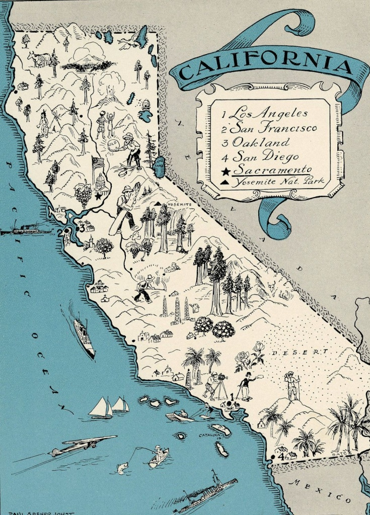 Original 1931 California Map Vintage Picture Map - Antique Map - Charming California Map