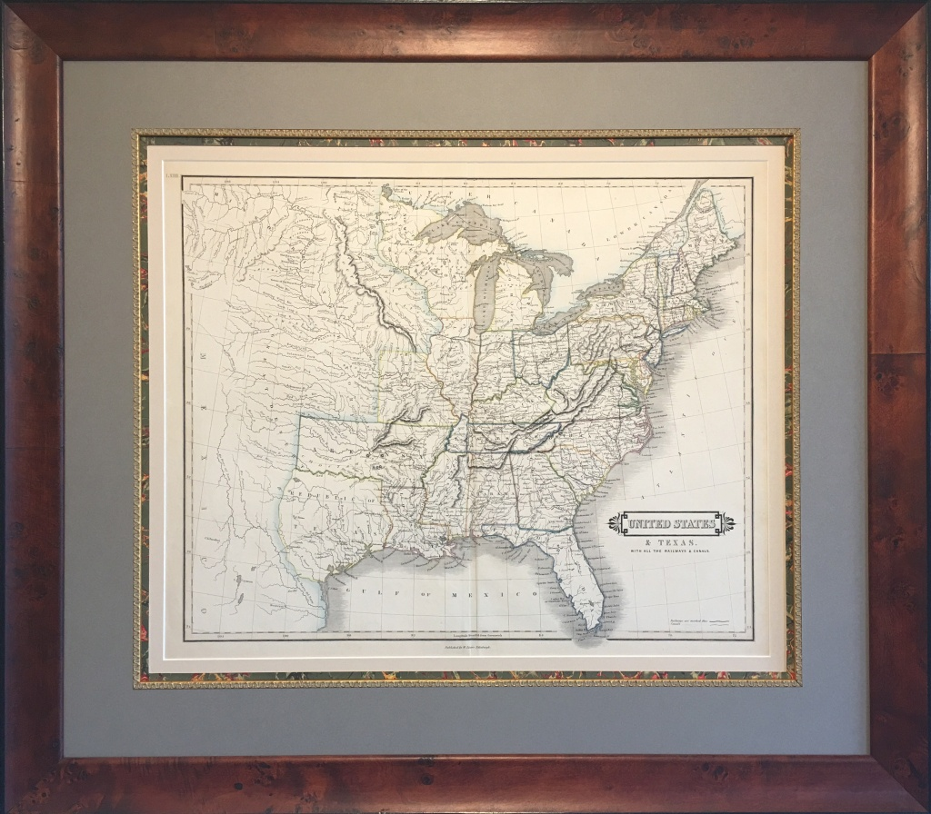Original Map Of The Republic Of Texas And The United States - Republic Of Texas Map Framed