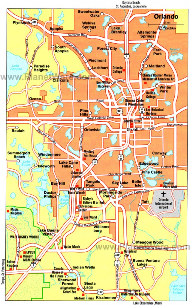 Orlando Cities Map And Travel Information | Download Free Orlando - Detailed Map Of Orlando Florida