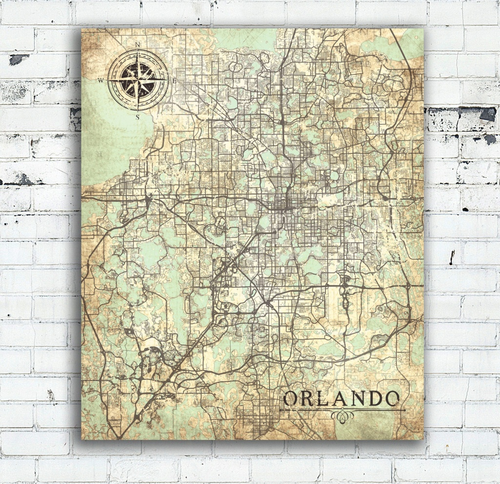 Orlando Fl Canvas Print Orlando Fl City Florida Vintage Map Orlando - Map Of Florida Wall Art
