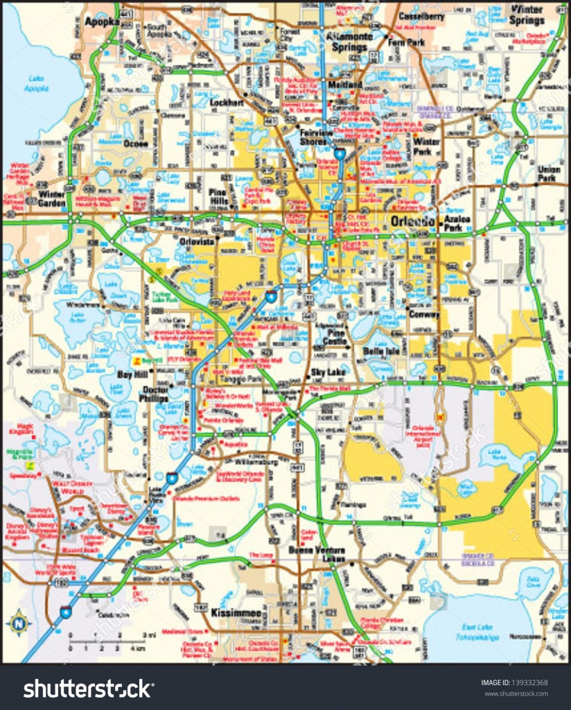 Orlando Florida Area Map Image Vectorielle De Stock (Libre De Droits - Map Of Orlando Florida Area