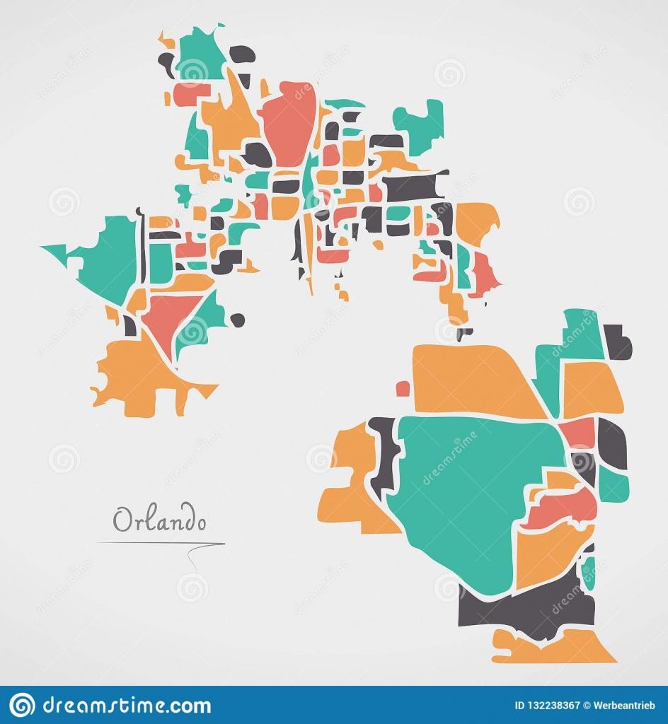 Orlando Florida Map Avec Des Voisinages Et Des Formes Rondes - Orlando Florida Map