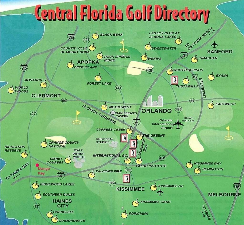 Orlando Golf Courses Map - Map Of Orlando Golf Courses (Florida - Usa) - Map Of Central Florida Golf Courses