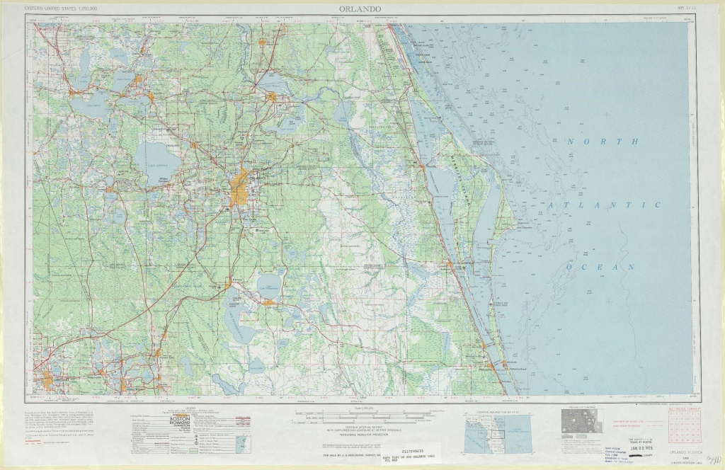 Orlando Topographic Maps, Fl - Usgs Topo Quad 28080A1 At 1:250,000 Scale - Usgs Topographic Maps Florida