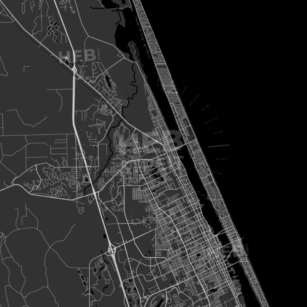 Ormond Beach, Florida - Area Map - Dark   Hebstreits - Street Map Of Ormond Beach Florida