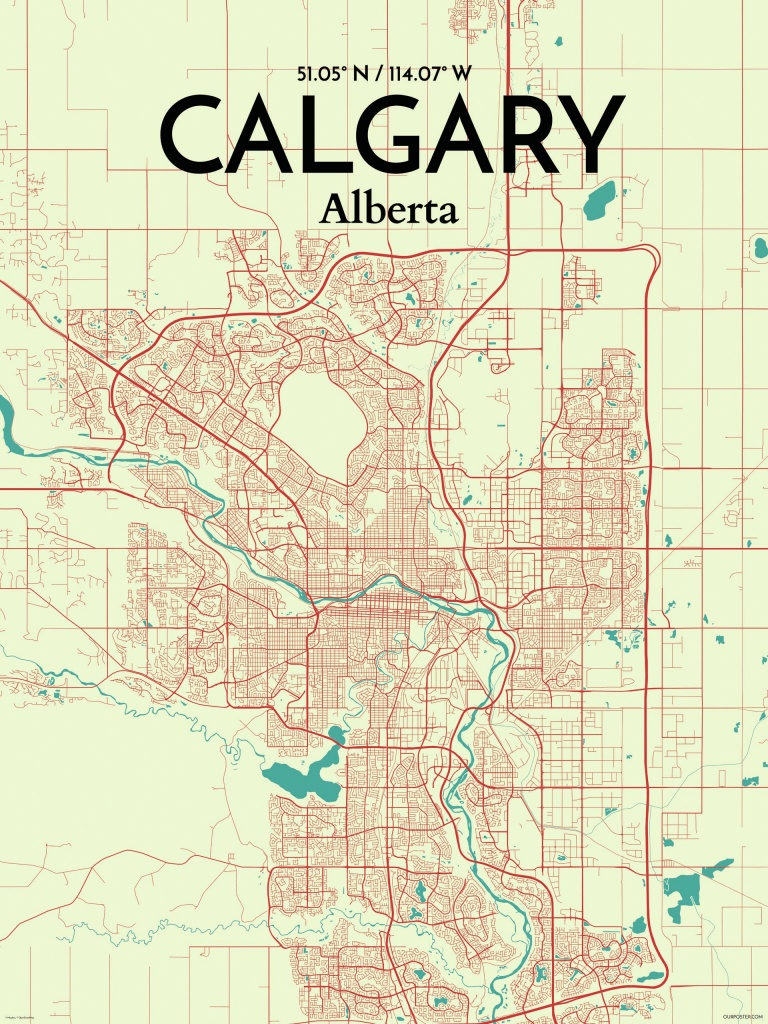 Ourposter 'calgary City Map' Graphic Art Print Poster In - Printable Map Of Calgary