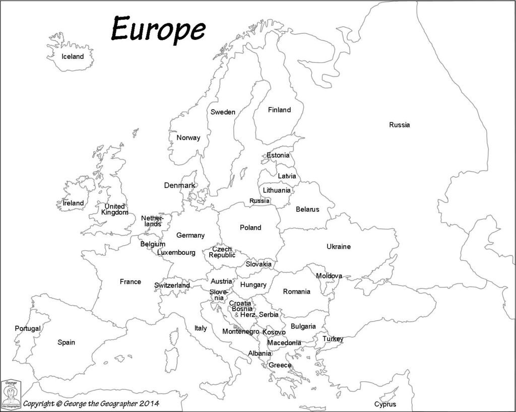 Outline Map Of Europe Political With Free Printable Maps And For - Europe Map Black And White Printable