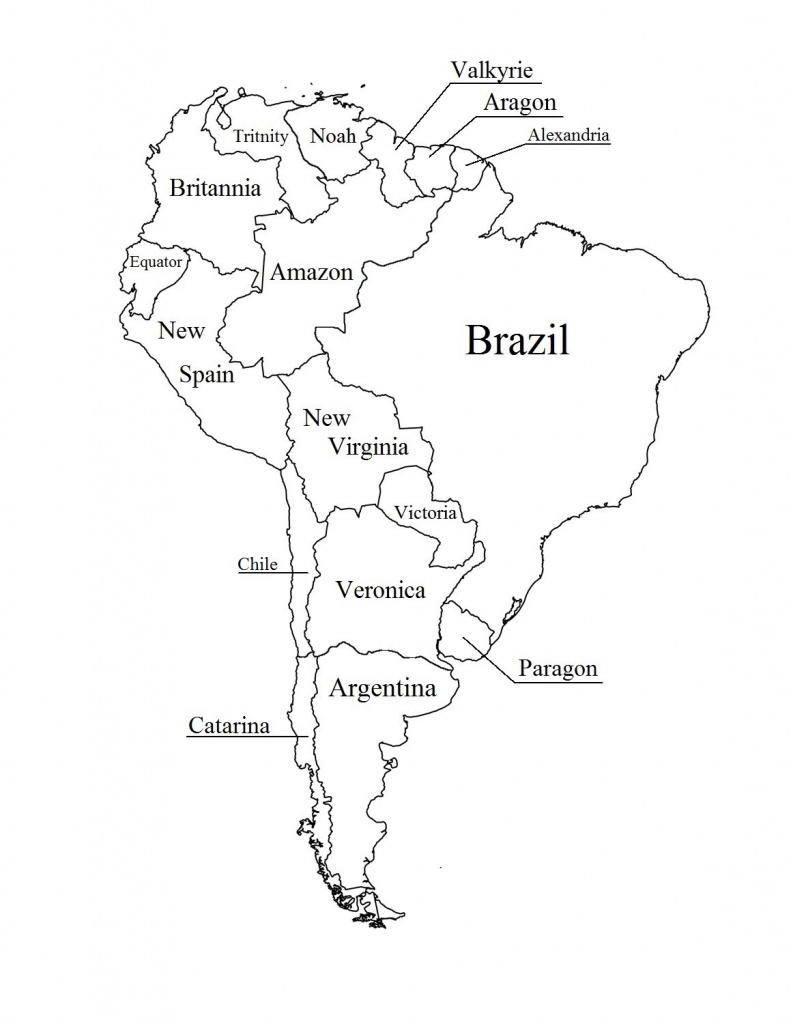 Outline Map Of South America Printable With Blank North And For New - Printable Map Of South America