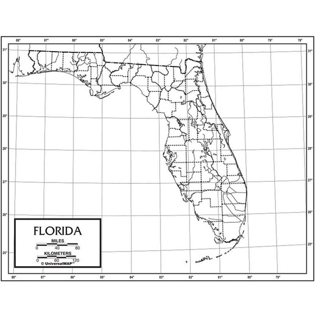 Outline Map Paper Florida - Uni21176 | Kappa Map Group / Universal Maps - Florida Map Black And White