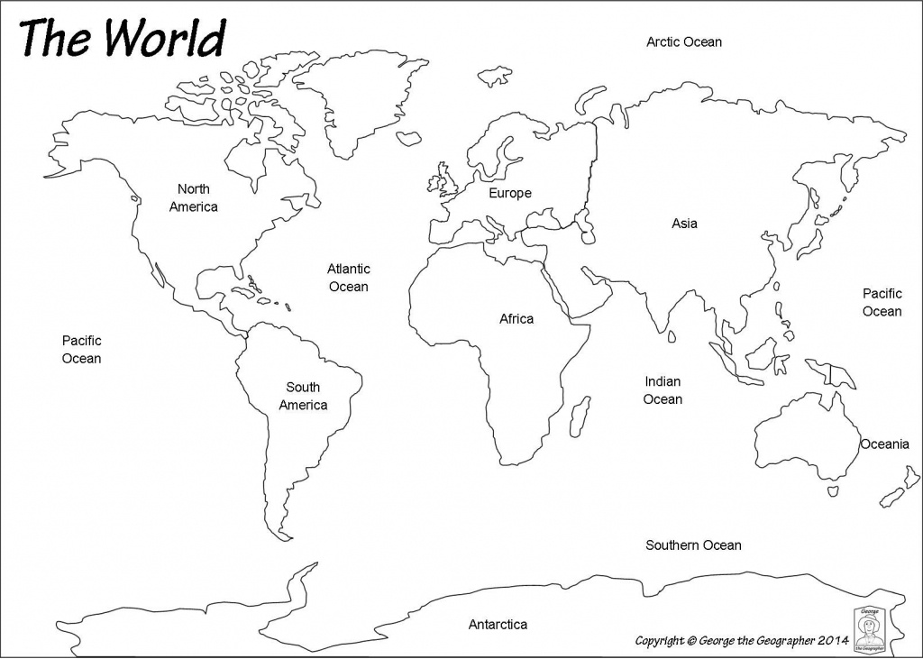 Outline World Map | Map | World Map Continents, Blank World Map - World Map Oceans And Continents Printable