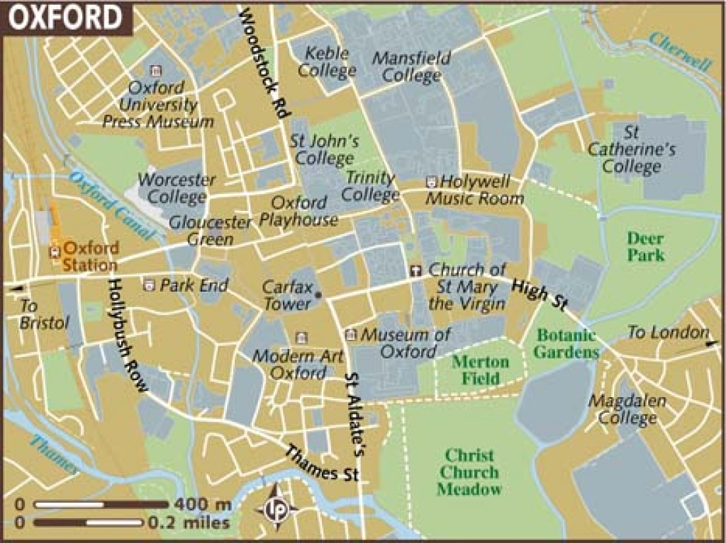 Oxford Maps - Top Tourist Attractions - Free, Printable City Street Map - Printable City Street Maps