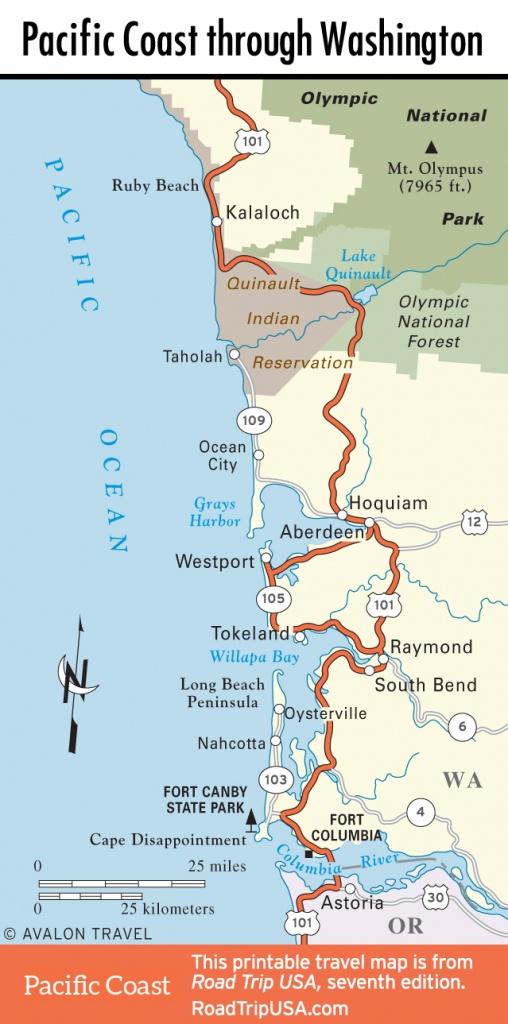 Pacific Coast Route Through Washington State | Road Trip Usa - California Oregon Washington Road Map