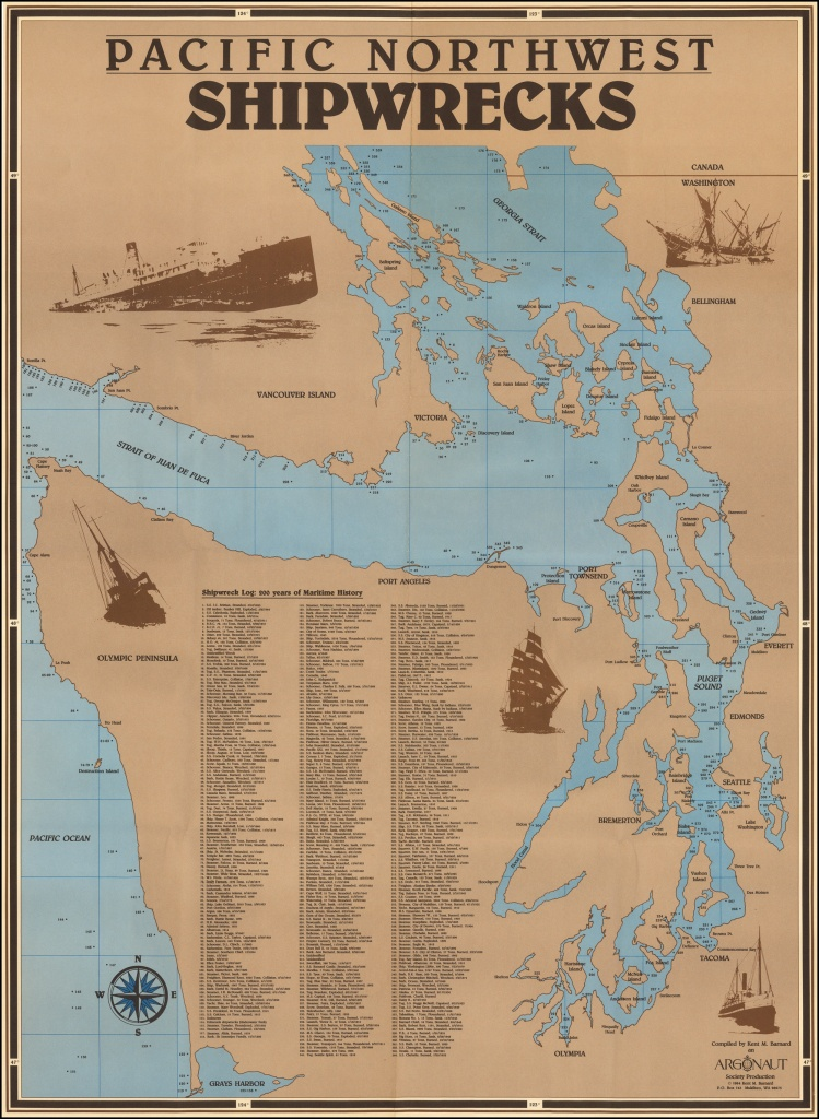 Pacific Northwest Shipwrecks - Barry Lawrence Ruderman Antique Maps Inc. - California Shipwreck Map