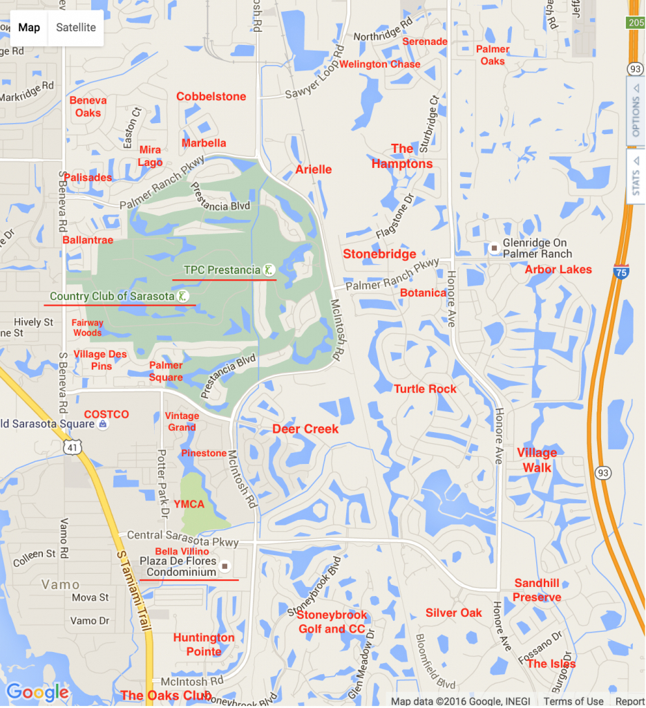 Palmer Ranch Map | Palmer Ranch Neighborhoods - Google Maps Sarasota Florida