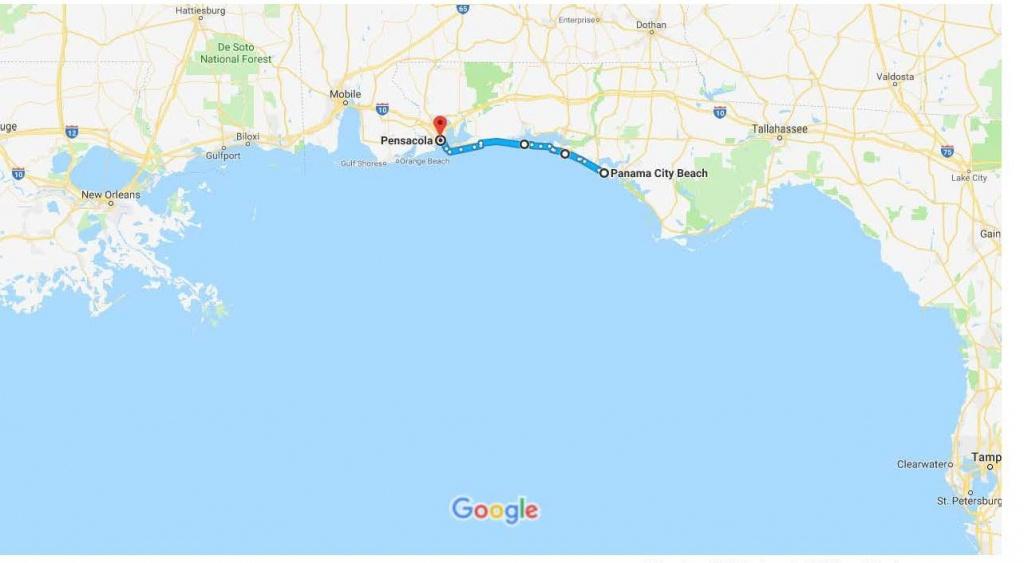 Panama City Beach, Fl To Pensacola, Fl – Google Maps | Urban Bicycle - Map Of Northwest Florida Beaches