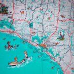 Panama City St Joe Florida Panhandle Beach Retro Map Print | Etsy   Map Of Florida Panhandle Beaches