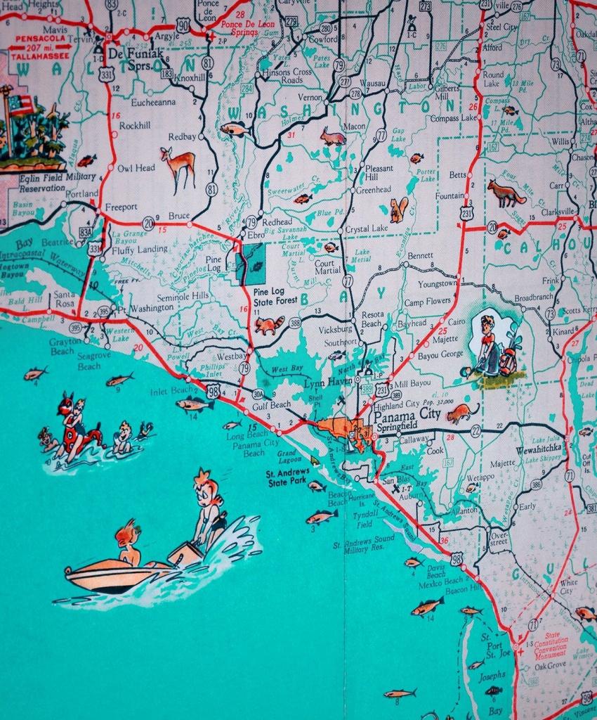Panama City St Joe Florida Panhandle Beach Retro Map Print | Etsy - Map Of Florida Panhandle Beaches