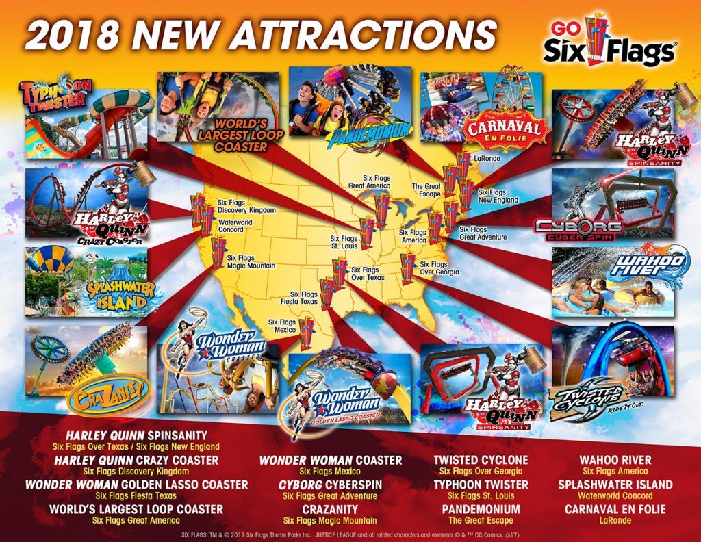 Parcplaza: Les Parcs Six Flags Annoncent Leurs Nouveautés 2018 - Six Flags Map California 2018