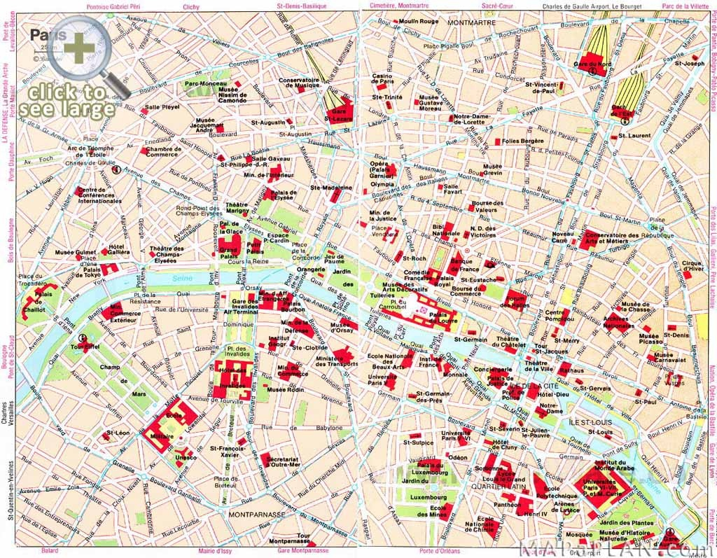 Paris Maps - Top Tourist Attractions - Free, Printable - Mapaplan - Paris City Map Printable