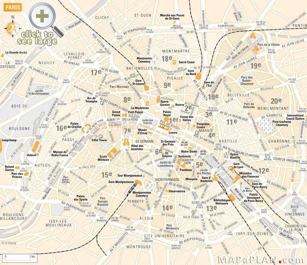 Paris Maps - Top Tourist Attractions - Free, Printable - Mapaplan - Printable Map Of Paris Attractions