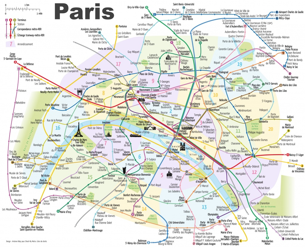 Paris Metro Map With Main Tourist Attractions - Map Of Paris Metro Printable