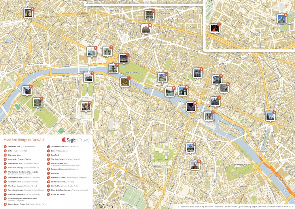 Paris Printable Tourist Map | Sygic Travel - Printable Travel Map