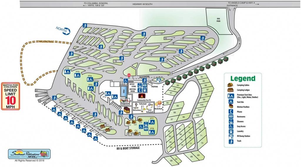 Park Info - Angels Camp Rv Resort - California Rv Resorts Map