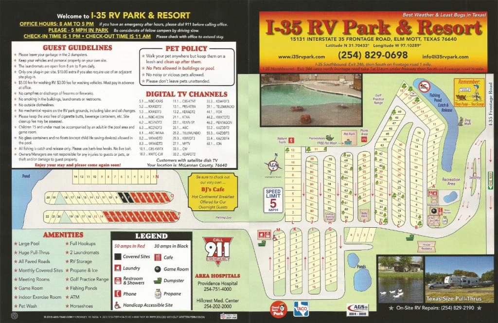Park Map – I-35 Rv Park - Texas Rv Parks Map
