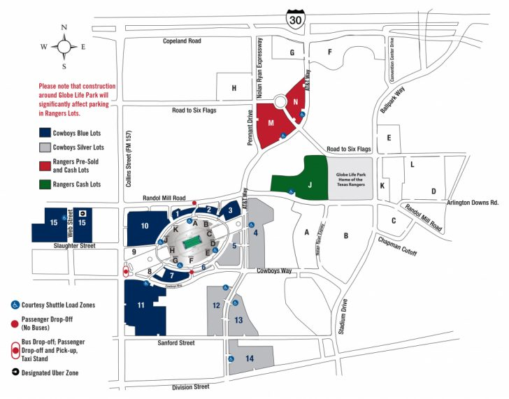 Texas Rangers Stadium Parking Map
