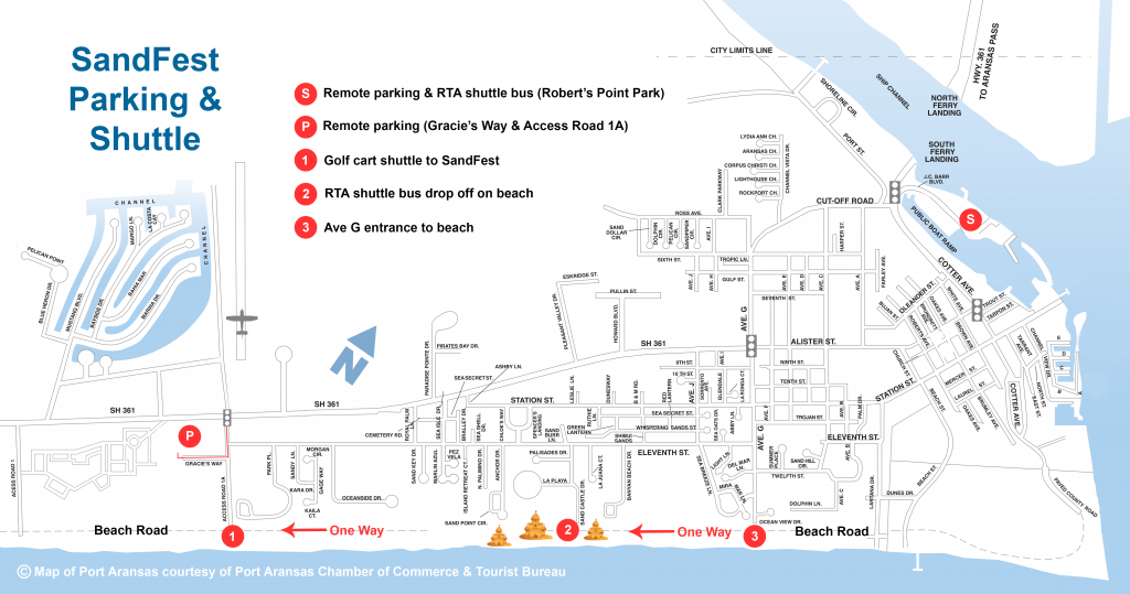 Parking & Shuttles | Texas Sandfest - Map Of Hotels In Port Aransas Texas