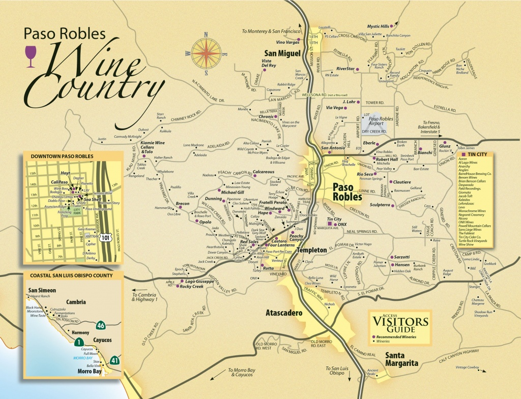 Paso Robles Wine Tasting Map - Paso Robles Daily News - Where Is Paso Robles California On The Map