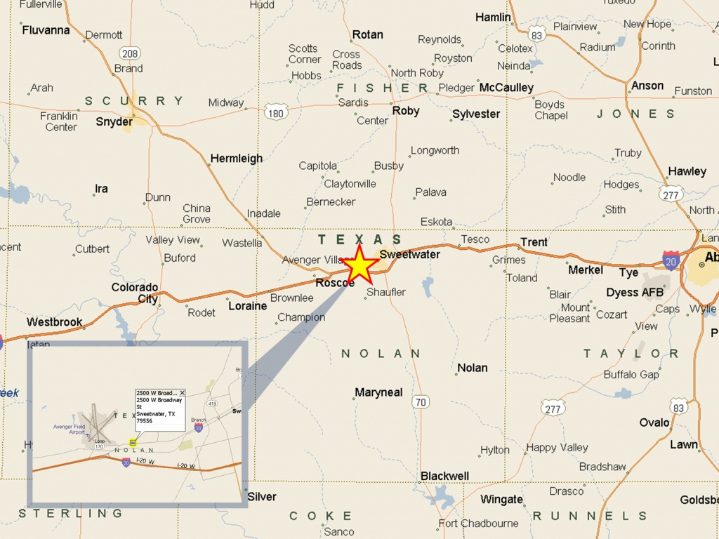 Paul Johnson & Associates - 2500 W Broadway St, Light Distribution - Sweetwater Texas Map