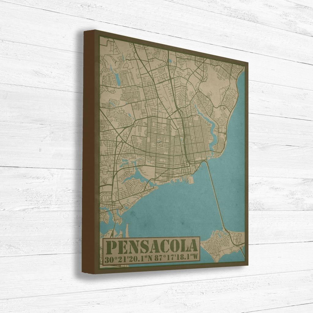 Pensacola Florida City Street Map Print, Pensacola City Map Print - Printable Map Of Pensacola Florida