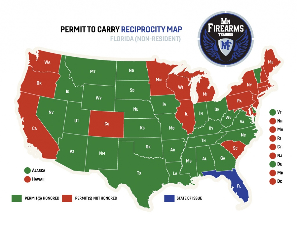 Permit To Carry Maps | Mn Firearms Training - Florida Concealed Carry Reciprocity Map 2018