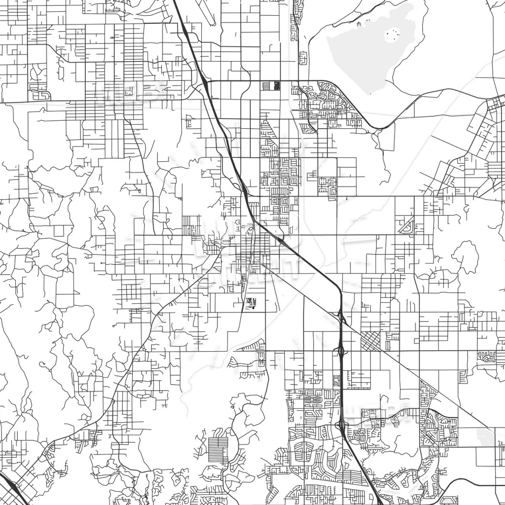 Perris, California - Area Map - Light   Hebstreits Sketches - Perris California Map