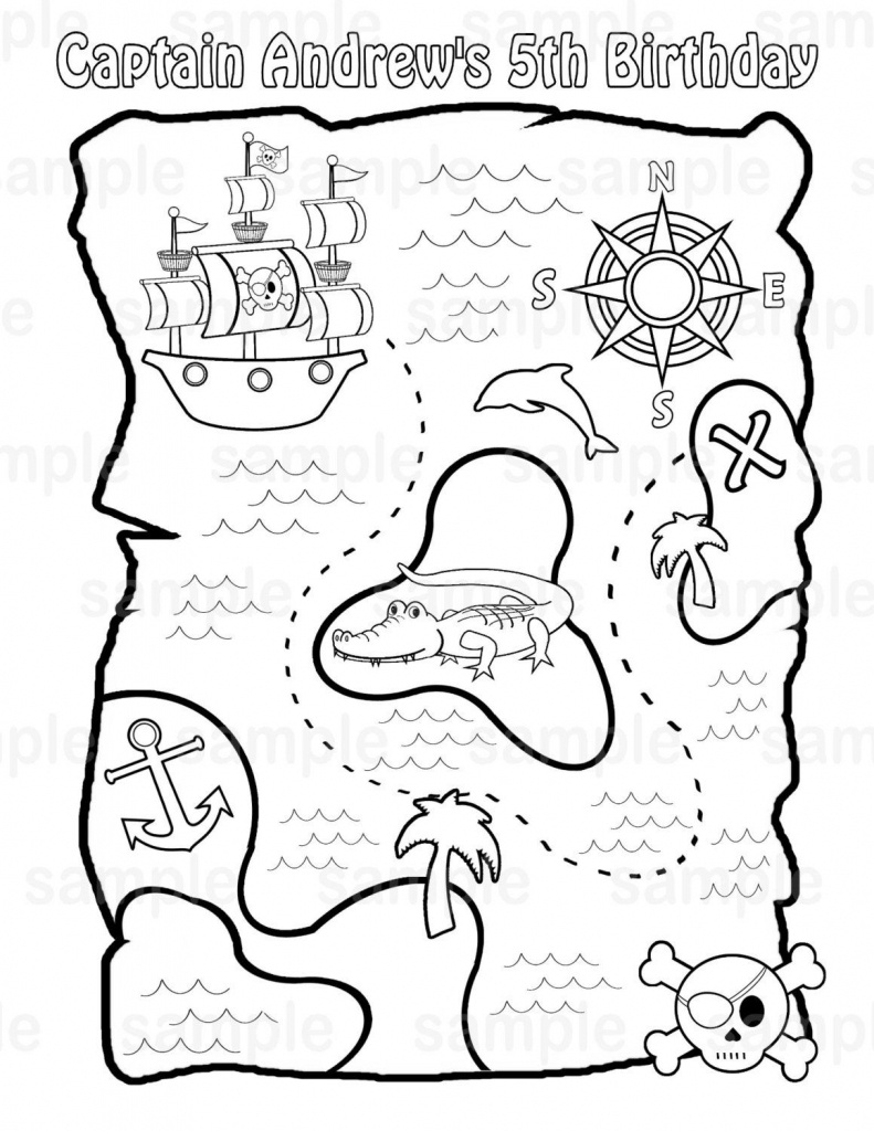 Personalized Printable Pirate Treasure Map Birthday Party Favor - Children's Treasure Map Printable