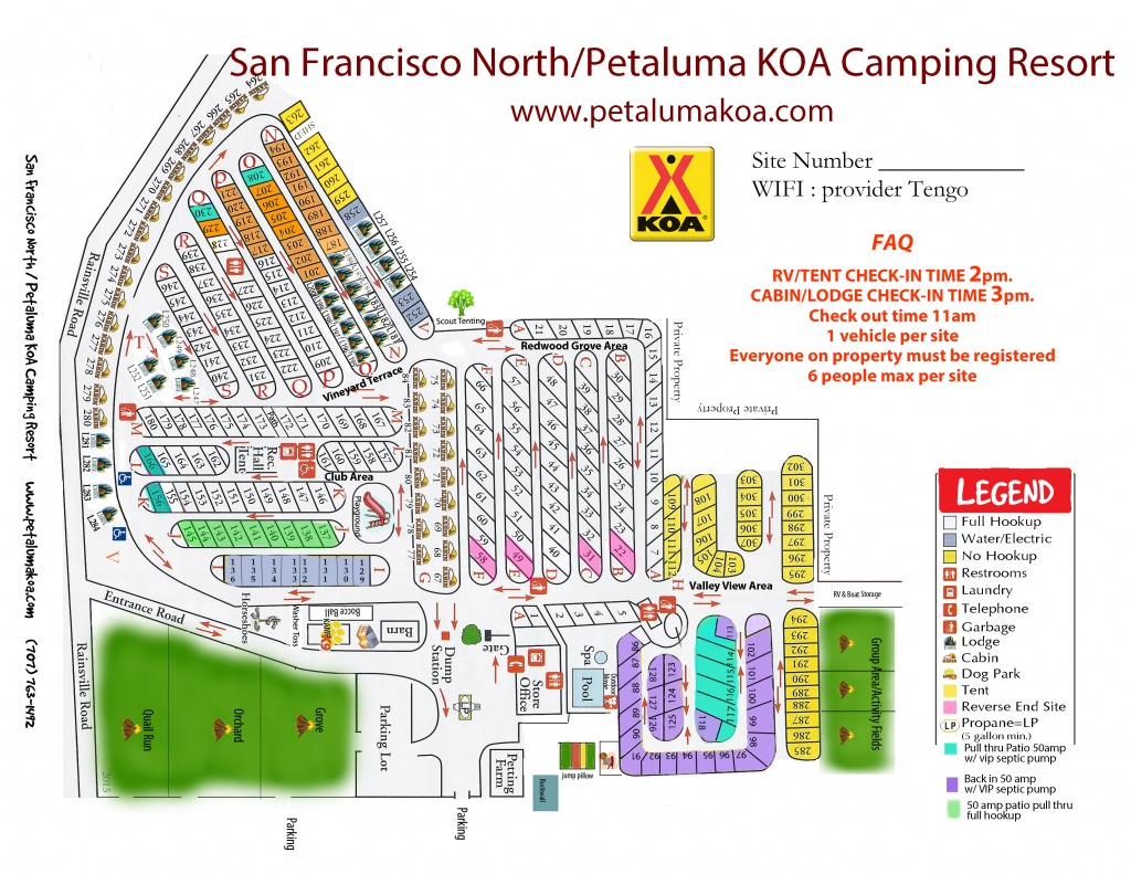 Petaluma, California Campground | San Francisco North / Petaluma Koa - California Rv Campgrounds Map
