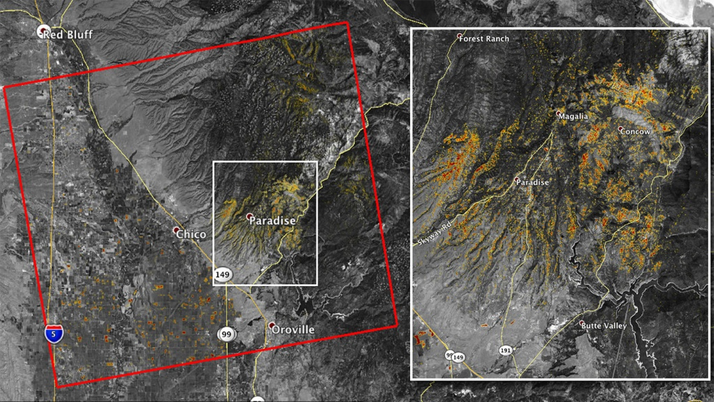 Photos: Camp Fire Damage Visible From Space - California Fire Damage Map