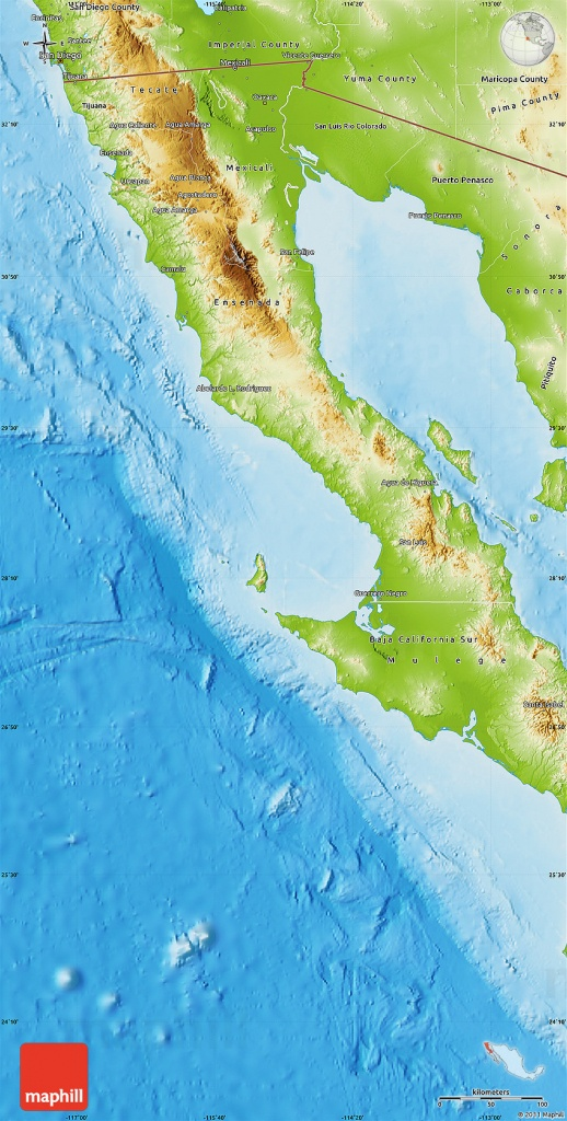 Physical Map Of Baja California - Baja California Topographic Maps
