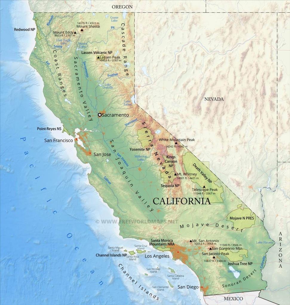 Physical Map Of California - Sierra California Map