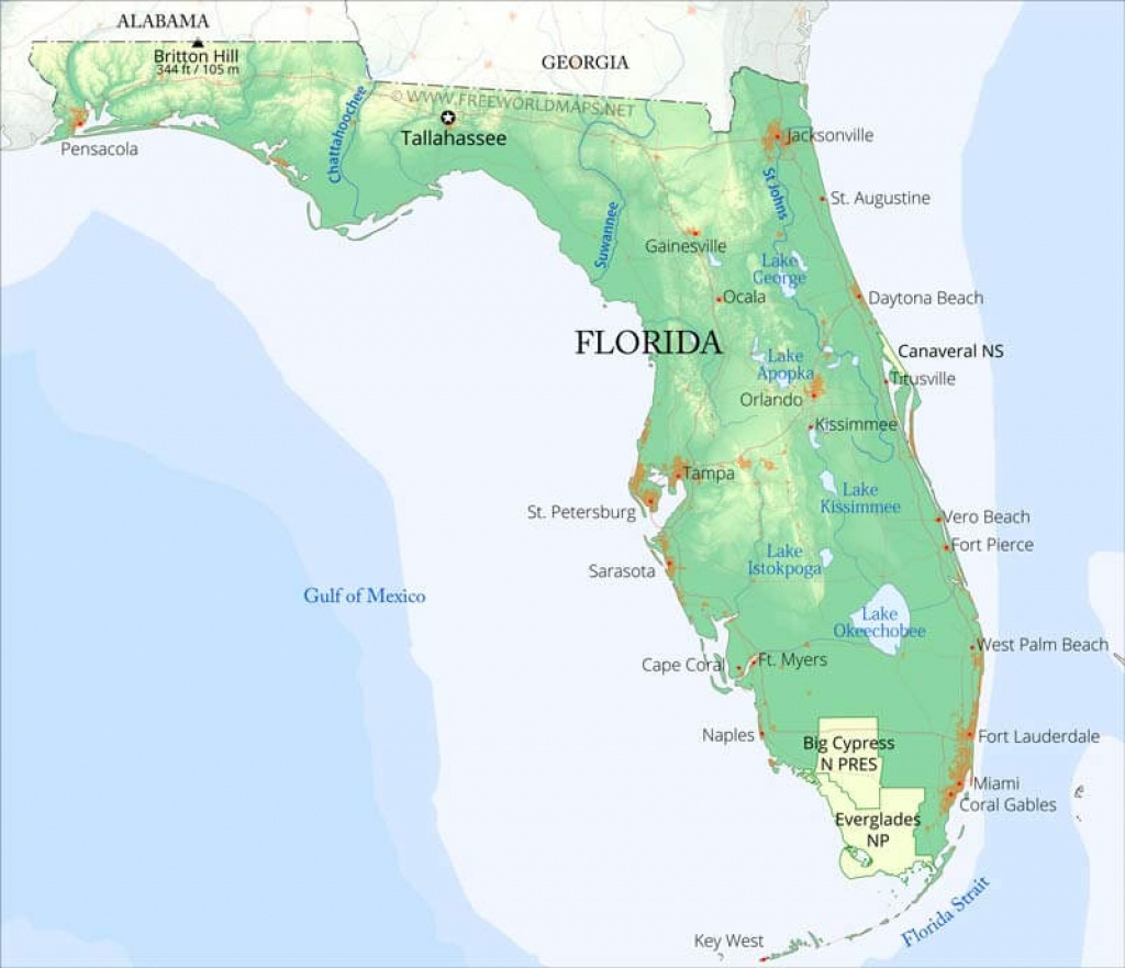 Physical Map Of Florida - Florida Ocean Map