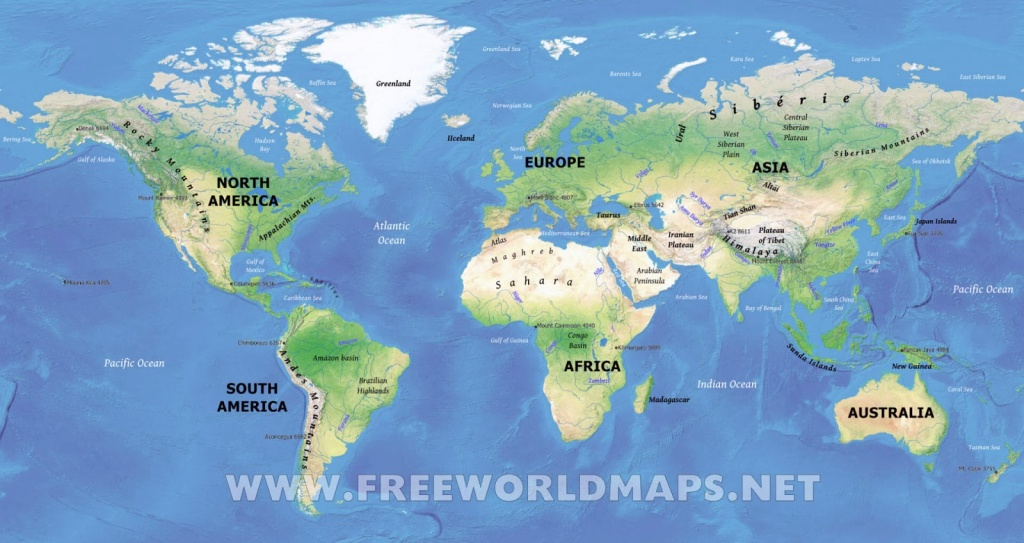 Physical Map Of World | World Physical Map Printable - World Physical Map Printable