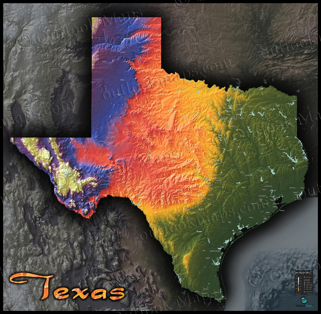 Physical Texas Map | State Topography In Colorful 3D Style - 3D Topographic Map Of Texas