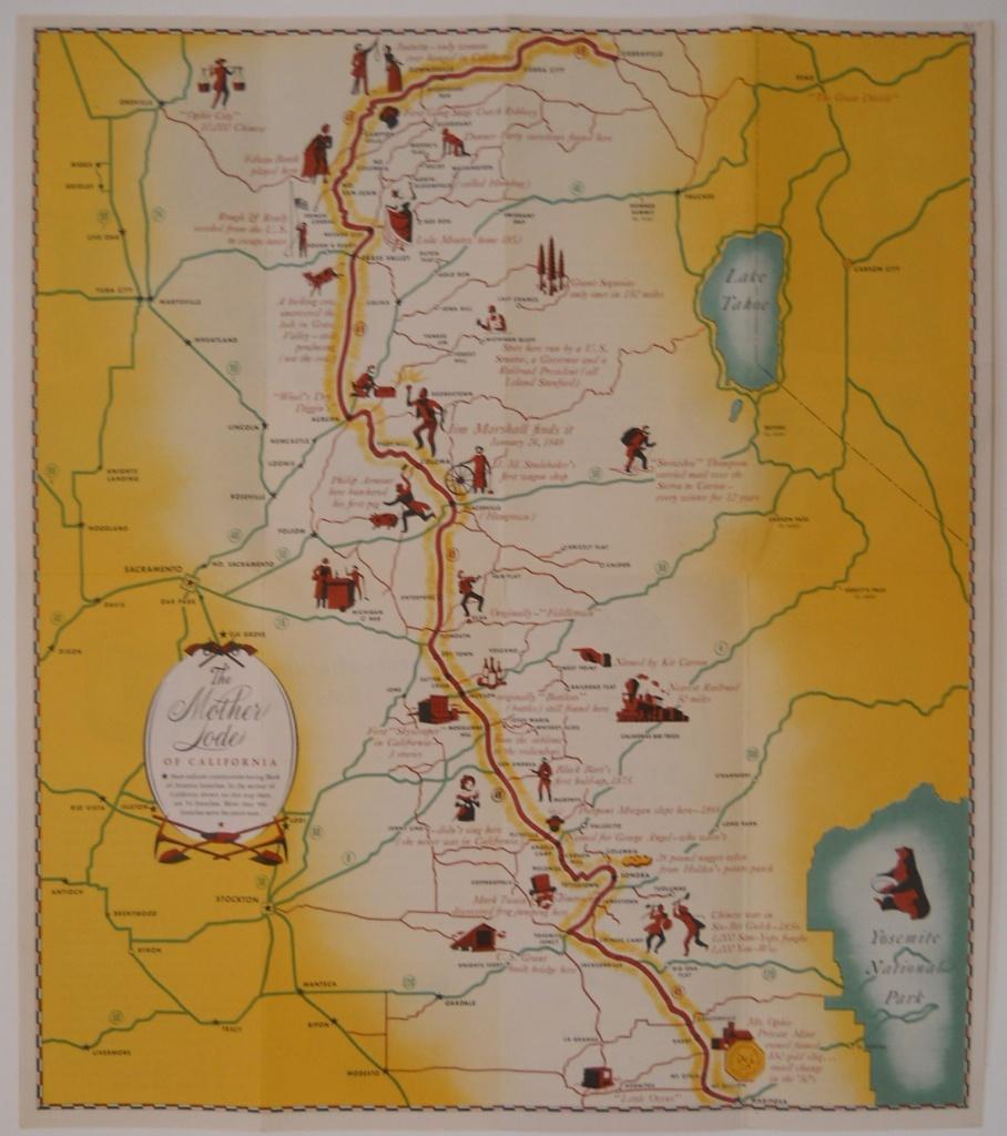 Pictorial Map Of California Gold Rush Region - Philadelphia Print Shop - California Gold Rush Map